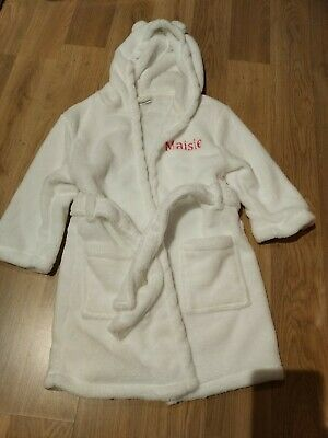Brand New Age 2-3 Years White Fluffy Dressing Gown Teddy Bear Ears Maisie