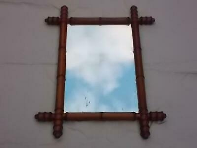1041 / Antique 19Th Century Wall Mirror Having Bamboo Affect Turned Wood Frame