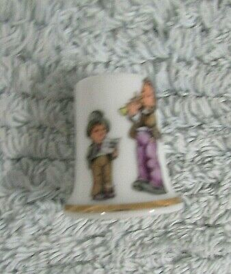 Old Christmas Boys Singing Horn Vintage White Porcelain Sewing Thimble FREE S/H