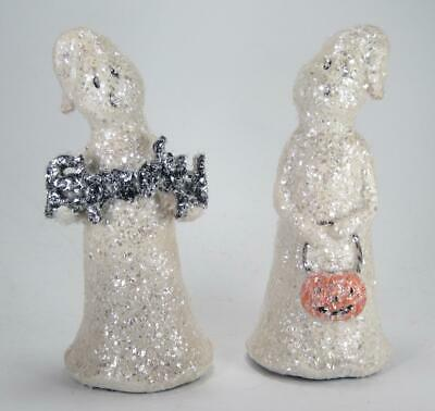 Set of 2 Glitter Ghost Figurines with Spooky Sign & Pumpkin Tabletop Fall Decor