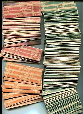335 Assorted Flat Coin Wrappers (50 Penny, 0 Nickel, 275 Dime, 10 Quarter)