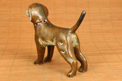 Fine old cloisonne hand painting dog statue figure good stand gift