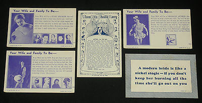 3 Vintage Arcade Cards Your Wife and Family To Be Postcard Backs + 2 Bonus Cards