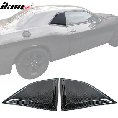 Fits 08-20 Dodge Challenger XE Style CF Print Window Louvers Scoops 2Pc Set