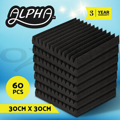 60pcs Studio Acoustic Foam Sound Absorbtion Proofing Panels Tiles Wedge 30X30CM
