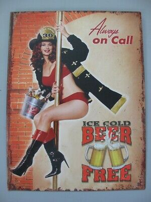 Metal Sign,Advertisement Sign Always on call Beer Pin up Girl Wall 13x9 13/16in
