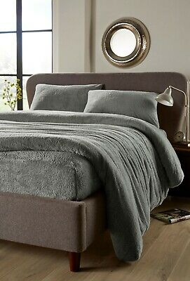 Soft Fluffy Teddy Fleece Fitted in Charcoal Grey Double Bed Size
