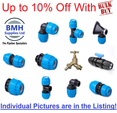 "Plastic MDPE Compression Fittings - 20mm-32mm/1/2""-1"" BSP WRAS, Bulk Discounts!!"