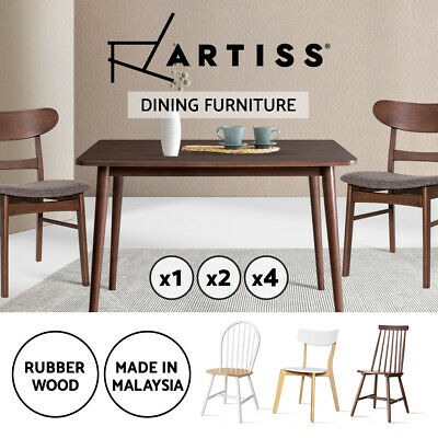 Artiss Dining Chairs and Table Kitchen Chair Set Rubber Wood Timber Retro x1x2x4