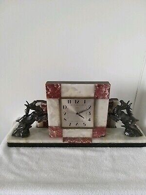 A 1930s ART DECO FRENCH 3 PIECE MARBLE CLOCK AND GARNITURE SET