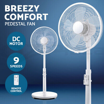 40cm Pedestal Fan DC Motor Floor 9 Speeds Quiet Remote Control Sleep Mode Timer