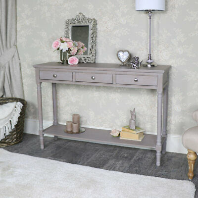 Large taupe painted 3 drawer console hall table vintage living room furniture