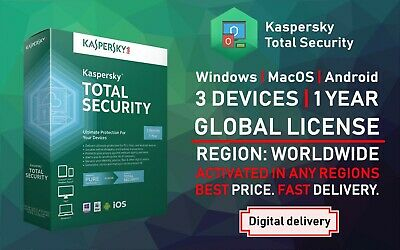 Kaspersky Total Security 2019 3 User Device 1 Year Win Mac Android Global Full