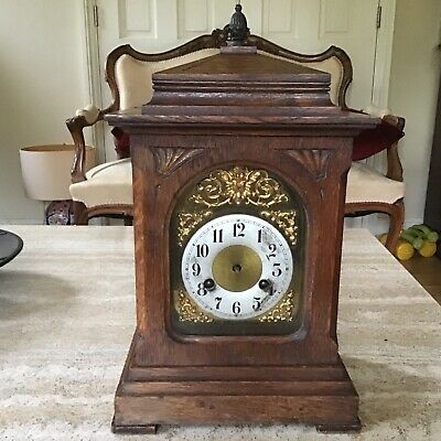 Antique Oak Mantel Clock With Pagoda Top For Restoration