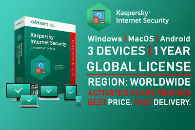 Kaspersky Internet Security 2019 3 User Device 1 Year Win Mac Android Global