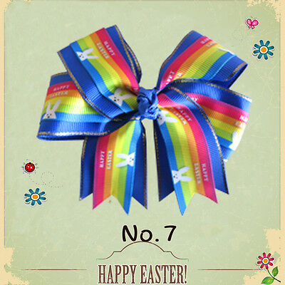 """50 BLESSING Happy Girl 4.5"""" Easter Cheer Clip Chick Rabbit Egg Hairbow 58 No."""