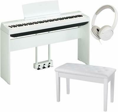 Yamaha P-125 White Digital Piano with Pedal Unit, Padded Bench & Headphones