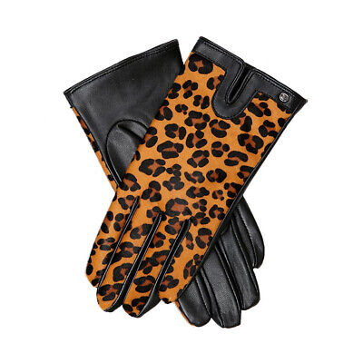 Womens Dents Violet Lightweight Leather Leopard Print Gloves