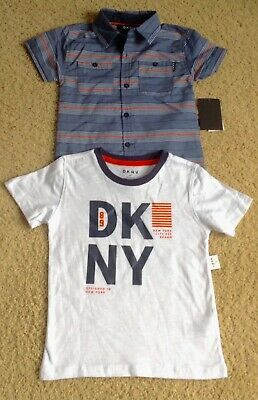 NWT DKNY Toddler Boy 4T Striped Button Up & Shirt Top Tee Set Multi Color NEW