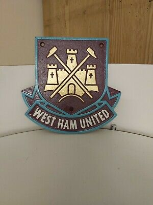 Heavy Cast Iron West Ham United FC Plaque Vintage Sign Hammers Irons