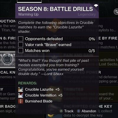Destiny 2 - Season 8: Battle Drills Full Quest For Burnished Blade (Xbox/PC/PS4)