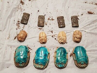 Rare Antique Ancient Egyptian 8 Scarabs + Magic Stones Good Luck1750-1670BC