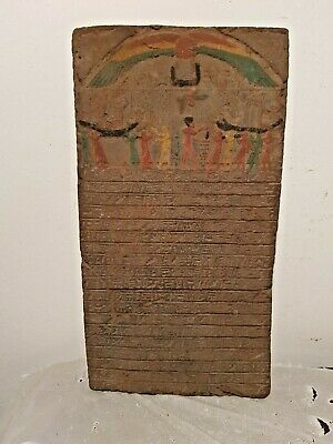 Rare Ancient Egyptian Stela Book of dead funeral Boat God Horus Sun 1427–1397 BC