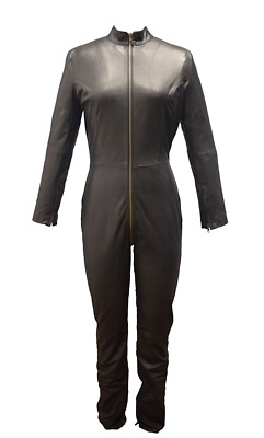 Genuine Leather Catsuit Long  Jump Suit Sexy Dress Mistress Dress Fetish Gothic