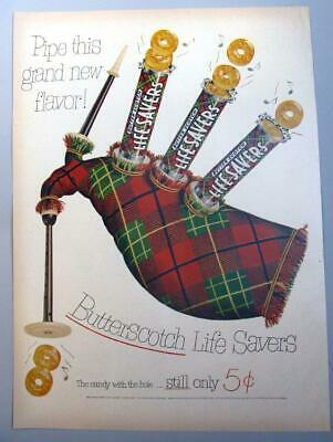 10X14 Original 1952 Life Savers Candy Ad BAG PIPE THIS GRAND NEW FLAVOR