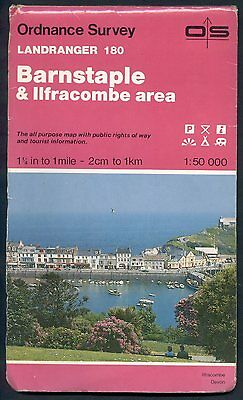 ORDNANCE SURVEY Landranger map 180 BARNSTAPLE & ILFRACOMBE 1992