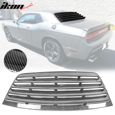 Fits 08-19 Dodge Challenger IKON Style Rear Window Louver Cover Sun Shade CFL