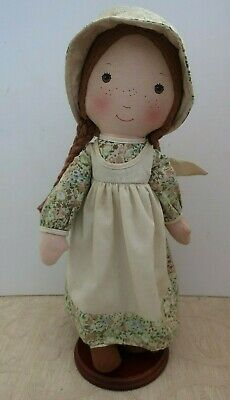 "vintage 1970s HEATHER Holly Hobbie's friend 15"" CLOTH DOLL & STAND"