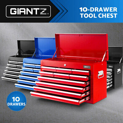 Giantz 10 Drawers Tool Box Chest Cabinet Trolley Boxes Garage Storage Toolbox