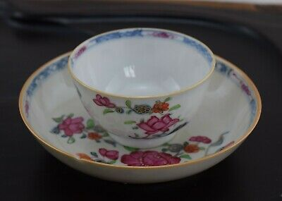 Antique Chinese Porcelain teacup & saucer Qianlong Period Famille Rose #1