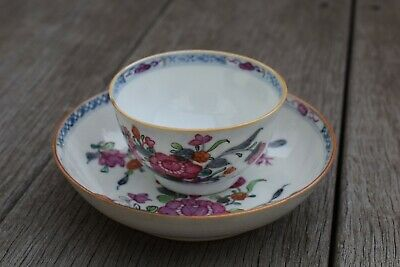 Antique Chinese Porcelain teacup & saucer Qianlong Period Famille Rose #2