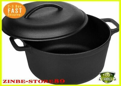 Cast Iron Dutch Oven Pot Pre-Seasoned Fry Pan Cooking Kitchen 5,Qt Quart Large