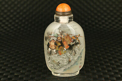 chinese old glass hand painting Journey to the west Tongtian River snuff bottle