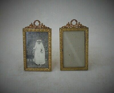 Fine Matching Pair Of French Antique Gilt Metal Photograph Frames Circa 1880