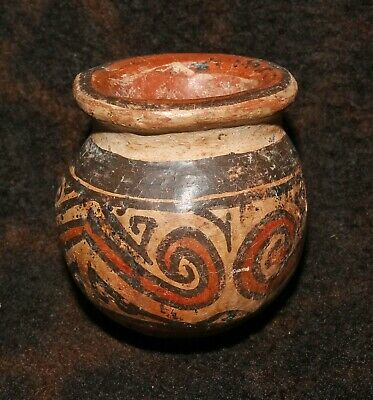 "Rare Pre-Columbian Cocle Polychrome Pottery Jarlet - Panama - 2 1/4""h x 2 1/4""d"