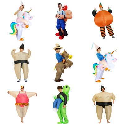 Adult/Kids Inflatable Funny Blow Up Fancy Dress Carry On Ride Costume Fat Suit