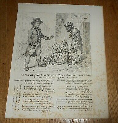 c1847 Antique British Caricature Print by James Gillray The Friend of Humanity