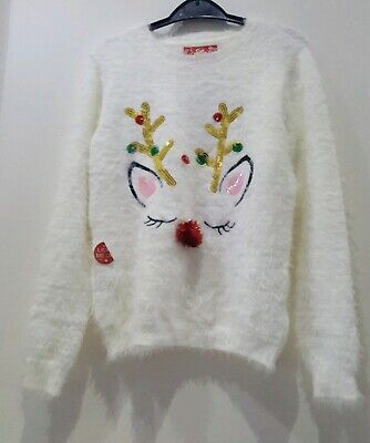 Primark Girls Reindeer Light Up Christmas Jumper Top  Sequin Xmas 2019