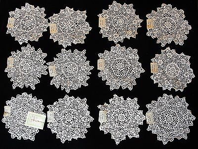 "12 Vtg 5 1/2""-6"" Hand Made Cotton Lace Doilies New Old Stock 1940'S One Dozen"