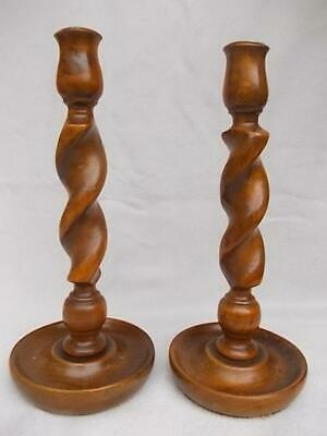 323 / PAIR OF ANTIQUE 1900s HAND TURNED WOODEN CANDLESTICKS