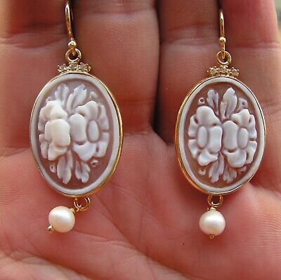 Antique Art Nouveau/Art Deco Silver Framed Cameo Earrings Natural Pearl Italy