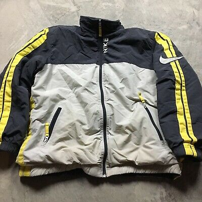 90s VTG NIKE AIR BIG SWOOSH STRIPED REVERSIBLE Jacket Youth XL Adult S Yellow