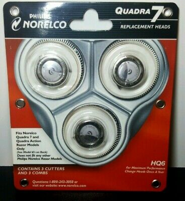 NEW Norelco Philips Quadra 7 Razor Replacement Heads HQ6 - Made in Holland