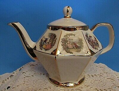 Gibsons Staffordshire England Gold Octagon Tea Pot Royalty Garden Party Pattern