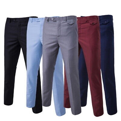 Mens Formal Suitpants Solid Color Cotton Straight Trousers With Adjustable Waist