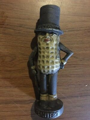 Mister Peanut Cast Iron Piggy Bank Toy Antique Style Solid Metal Patina Paint Ex